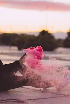 Fotos con humo de colores al atardecer